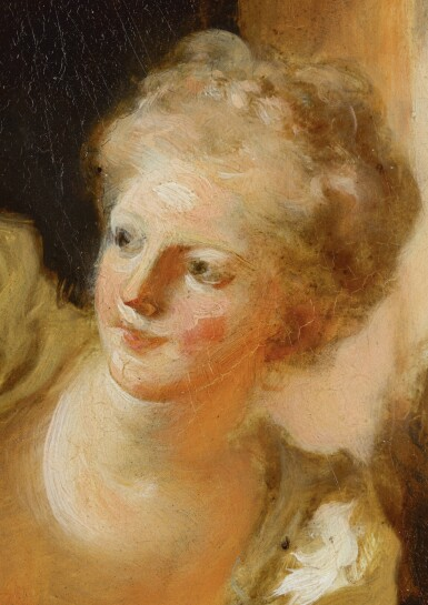 View 3. Thumbnail of Lot 73. JEAN HONORÉ FRAGONARD | A YOUNG WOMAN LEANING OUT OF A WINDOW.