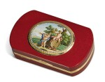 AN ITALIAN GOLD MOUNTED PURPURINE SNUFF BOX WITH MICROMOSAIC, CAMILLO PICCONI, ROME, 1810-1815