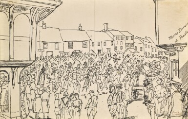 View 3. Thumbnail of Lot 35. EDWARD BAWDEN, R.A. | MORRIS DANCING AT THAXTED; VILLAGE FETE.