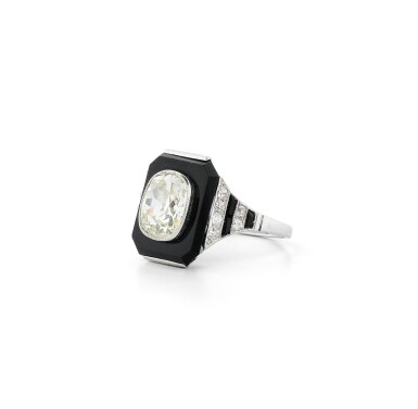 View 2. Thumbnail of Lot 20. Bague onyx et diamant | Onyx and diamond ring.