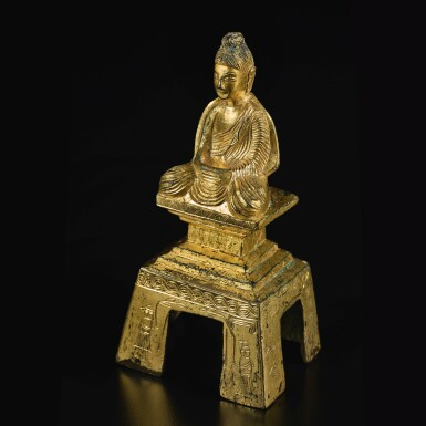 View 5. Thumbnail of Lot 588. A GILT-BRONZE FIGURE OF A SEATED BUDDHA,  NORTHERN WEI DYNASTY, DATED TAIHE SECOND YEAR, CORRESPONDING TO 478.