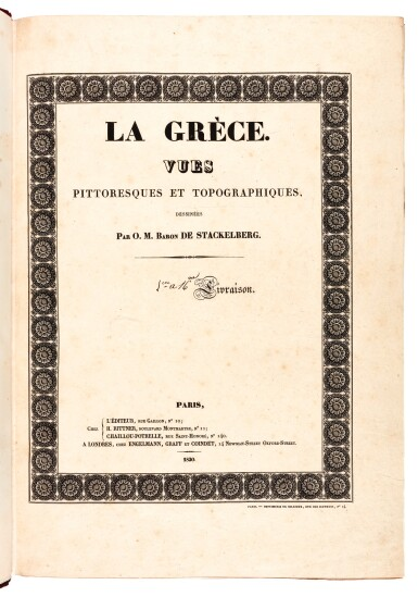 View 2. Thumbnail of Lot 106. Stackelberg. La Grèce. Vues pittoresques et topographiques. [1829]-1834. folio. modern red morocco. The Blackmer copy.