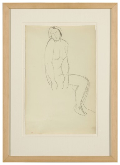 View 2. Thumbnail of Lot 62. Femme nue assise de trois quarts.