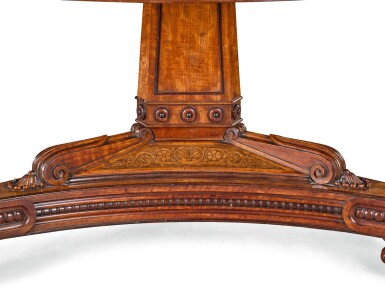 View 3. Thumbnail of Lot 201. A REGENCY SATINWOOD, MAHOGANY AND MARQUETRY LIBRARY DRUM TABLE, CIRCA 1815, ATTRIBUTED TO GEORGE BULLOCK.
