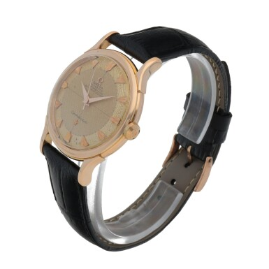 View 2. Thumbnail of Lot 429. CONSTELLATION, REF 2782 PINK GOLD WRISTWATCH CIRCA 1950.