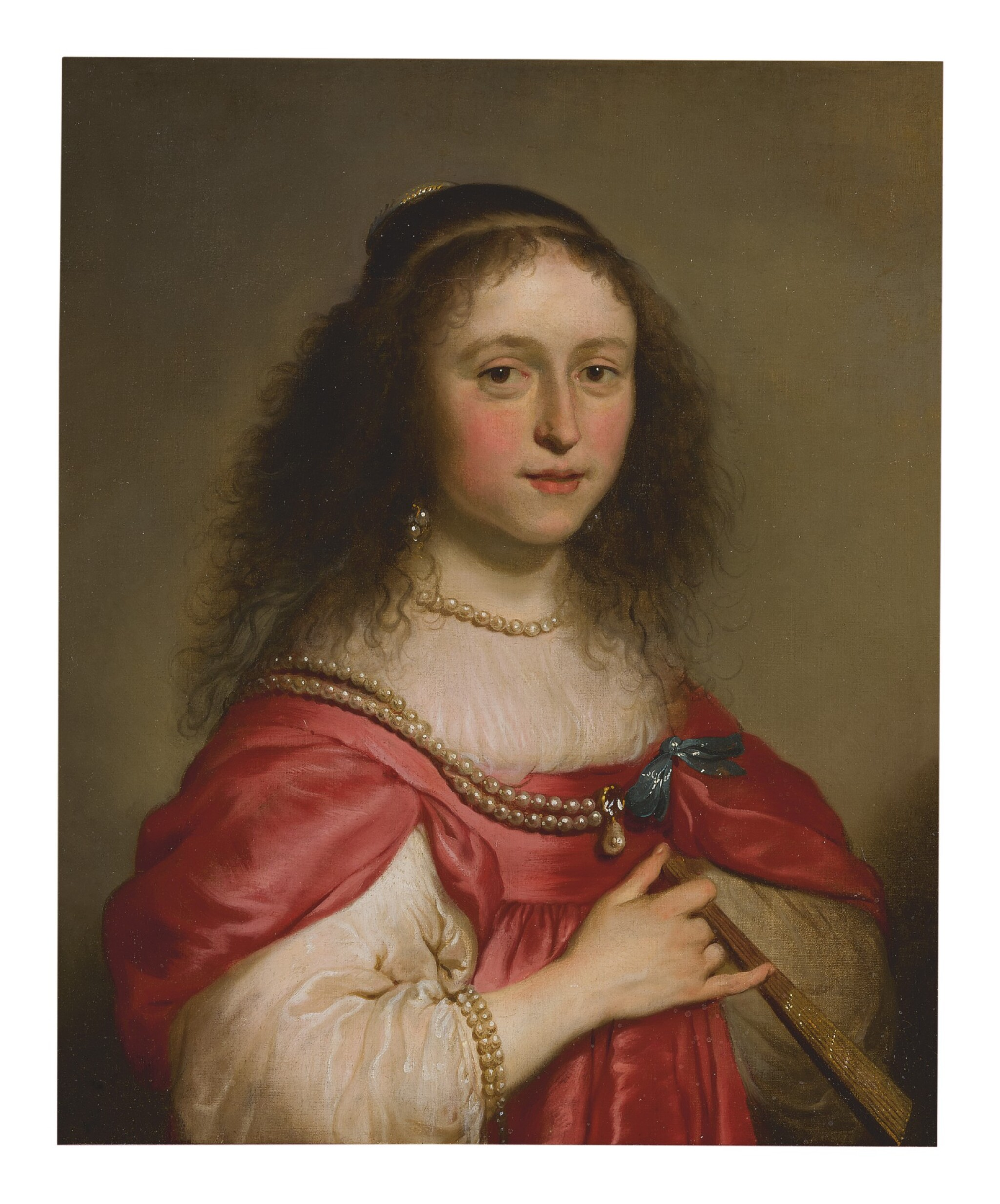 View full screen - View 1 of Lot 578. JACOB ADRIAENSZ. BACKER | PORTRAIT OF A YOUNG WOMAN HOLDING A FAN.