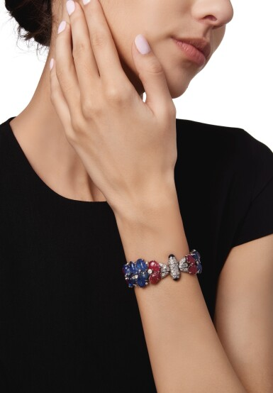 View 2. Thumbnail of Lot 456. SAPPHIRE, RUBY AND DIAMOND BRACELET | 藍寶石配紅寶石及鑽石手鏈.