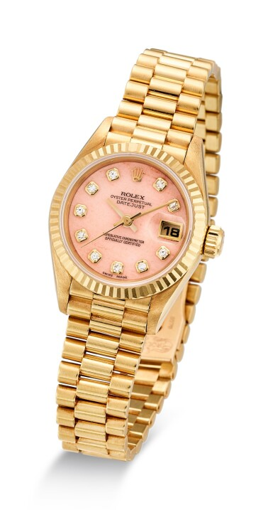 ROLEX | DATEJUST, REFERENCE 69178 A YELLOW GOLD AND DIAMOND-SET WRISTWATCH WITH DATE, BRACELET AND CORAL DIAL CIRCA 1996