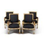 A set of four Empire white painted and parcel gilt fauteuils, by Jacob, early 19th century