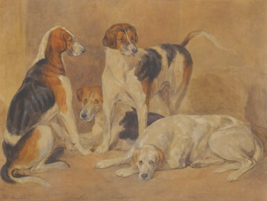View 1. Thumbnail of Lot 74. ENGLISH SCHOOL, 19TH CENTURY   FOUR FOX HOUNDS.