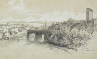 EDWARD LEAR | VIEW OF THE PONTE ROTTO, ROME