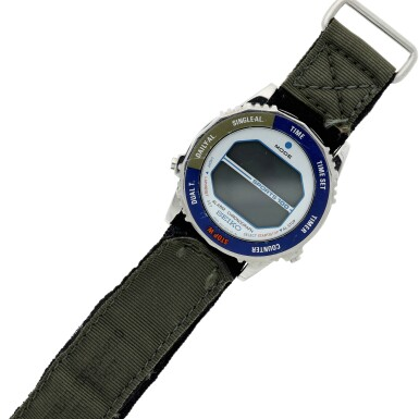 """View 5. Thumbnail of Lot 82. [STS-41-G and STS-31] Kathy Sullivan's Twice Flown Seiko — The """"Most Vertical Watch""""."""