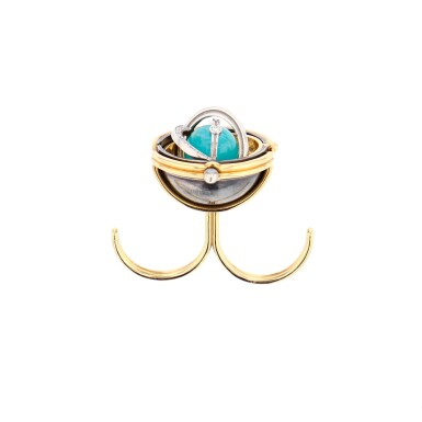 View 1. Thumbnail of Lot 1. Elie Top, Amazonite and Diamond Ring [Bague Amazonite et Diamants], 'Pluton'.