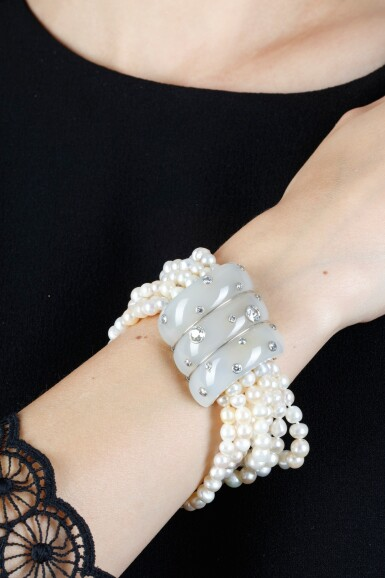 View 4. Thumbnail of Lot 43. SUZANNE BELPERRON   CHALCEDONY, CULTURED PEARL AND DIAMOND BRACELET, CIRCA 1935.