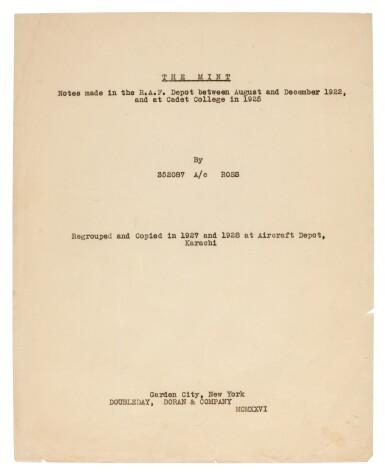 View 1. Thumbnail of Lot 119. LAWRENCE, T.E. | The Mint, carbon typescript copy, c.1936.