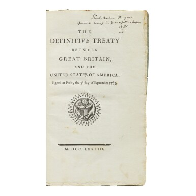 View 1. Thumbnail of Lot 472. (Treaty of Paris) | First printing of the Treaty of Paris, with distinguished contemporary provenance.