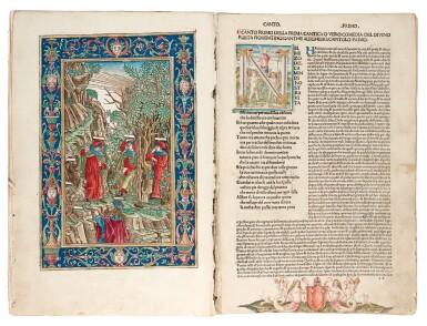 View 1. Thumbnail of Lot 183. Dante, La Commedia, Brescia, 1487, hand-coloured, disbound.