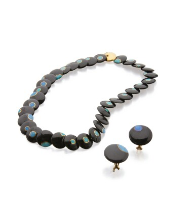 BLACK JADE AND OPAL NECKLACE AND PAIR OF EARCLIPS, TIFFANY & CO.