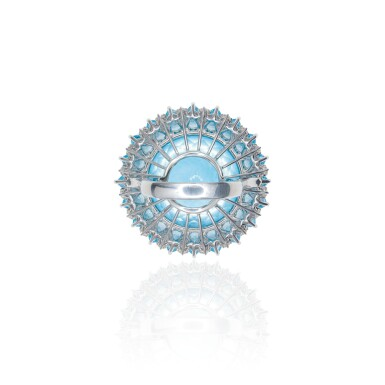 View 2. Thumbnail of Lot 22. BLUE TOPAZ AND DIAMOND RING, MICHELE DELLA VALLE.