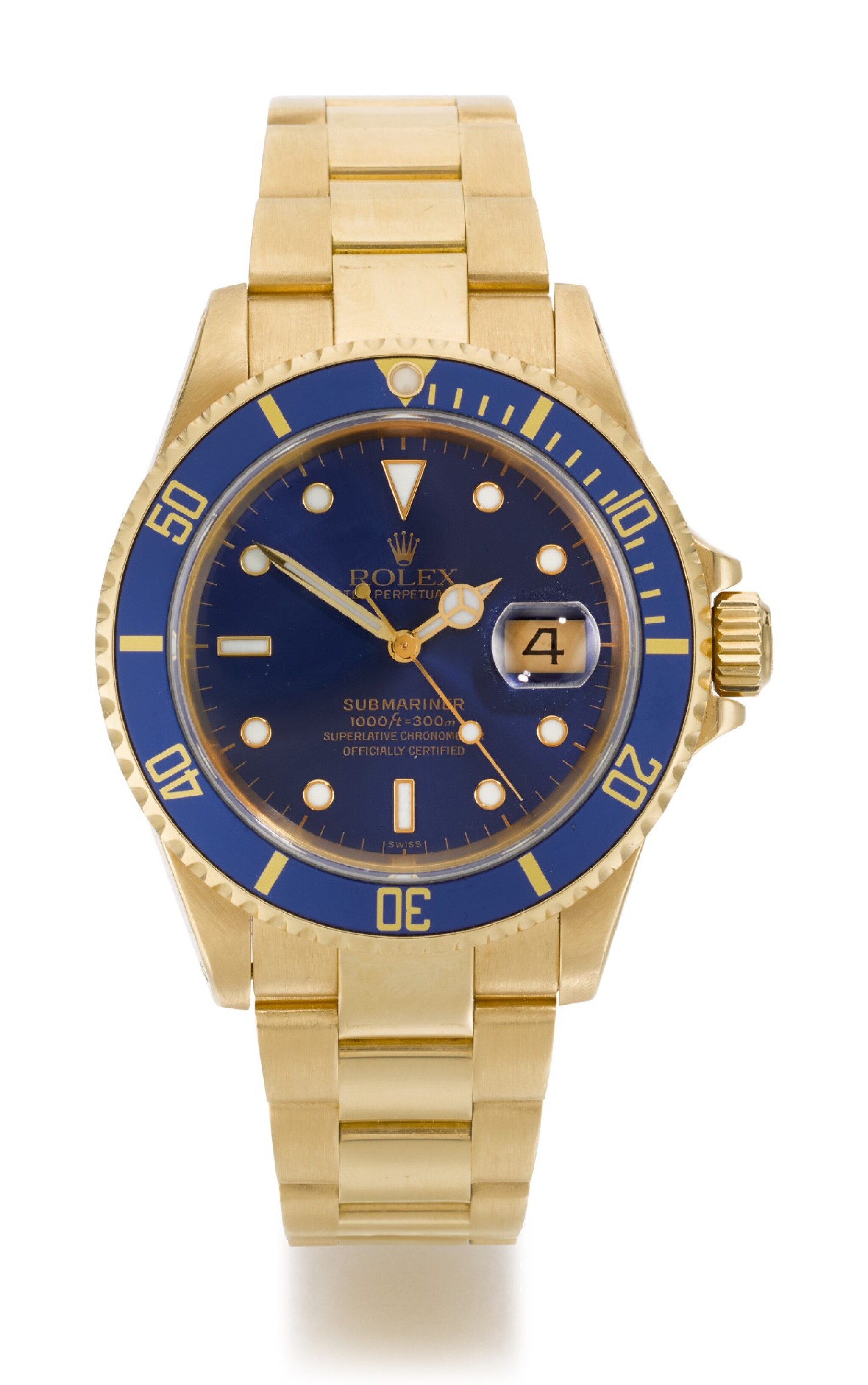 View full screen - View 1 of Lot 8. ROLEX | SUBMARINER, REFERENCE 16618, YELLOW GOLD WRISTWATCH WITH DATE AND BRACELET, CIRCA 1999.