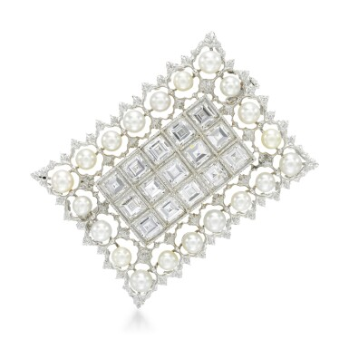 View 1. Thumbnail of Lot 258. BUCCELLATI   SEED PEARL AND DIAMOND BROOCH.