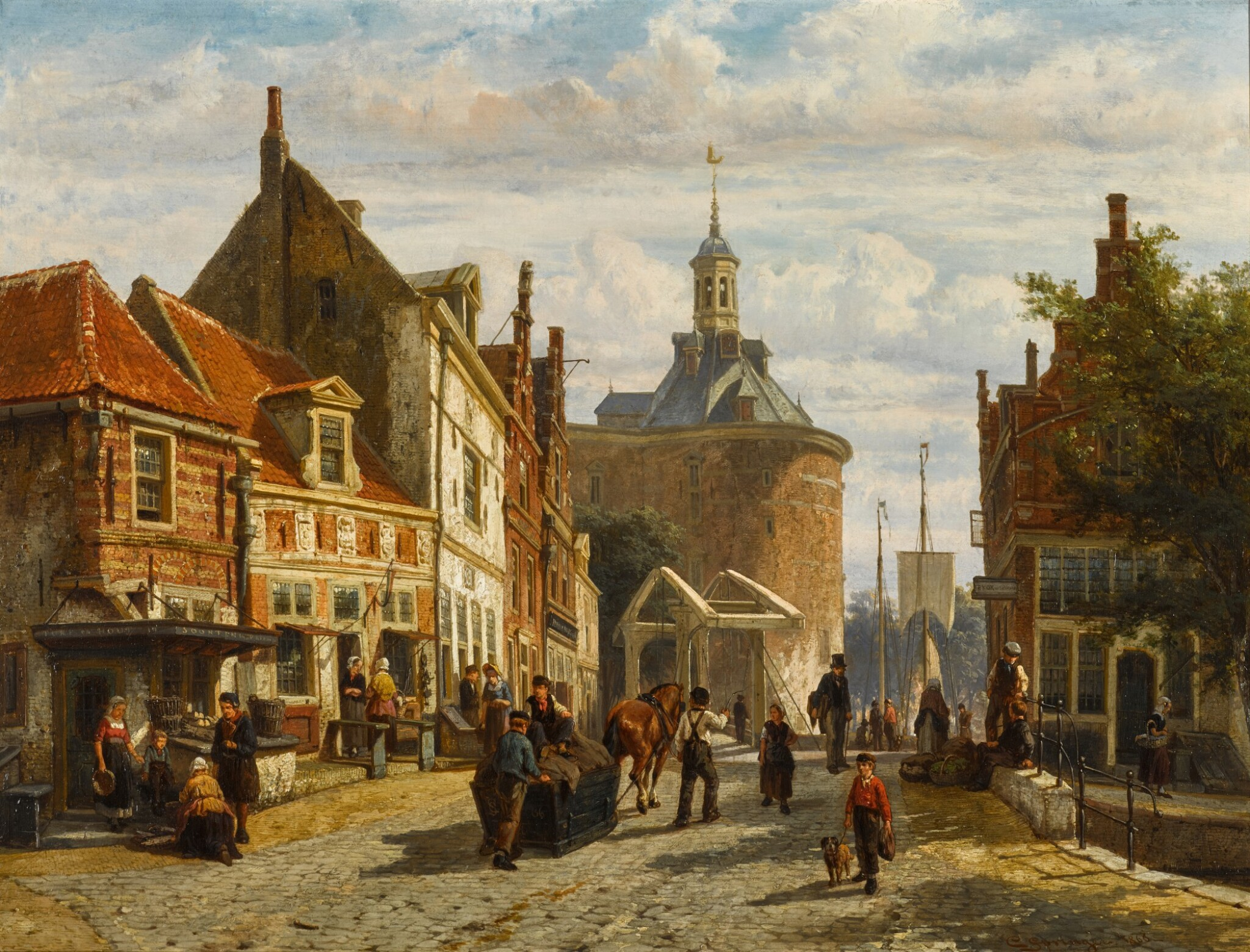 View 1 of Lot 86. The Zuiderspui with the Drommedaris, Enkhuizen.
