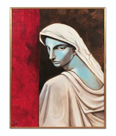 """View 2. Thumbnail of Lot 28. JEAN COCTEAU. Portrait d'une tragédienne. Huile sur toile, signée """"J"""" et datée 51 en bas à gauche. 146 x 114 cm."""