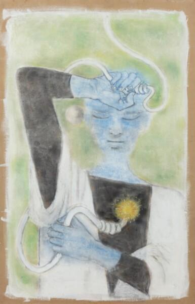 View 1. Thumbnail of Lot 34. JEAN COCTEAU. Astrologue III. Le Feu. [1954]. Technique mixte sur isorel. 120 x 77 cm..