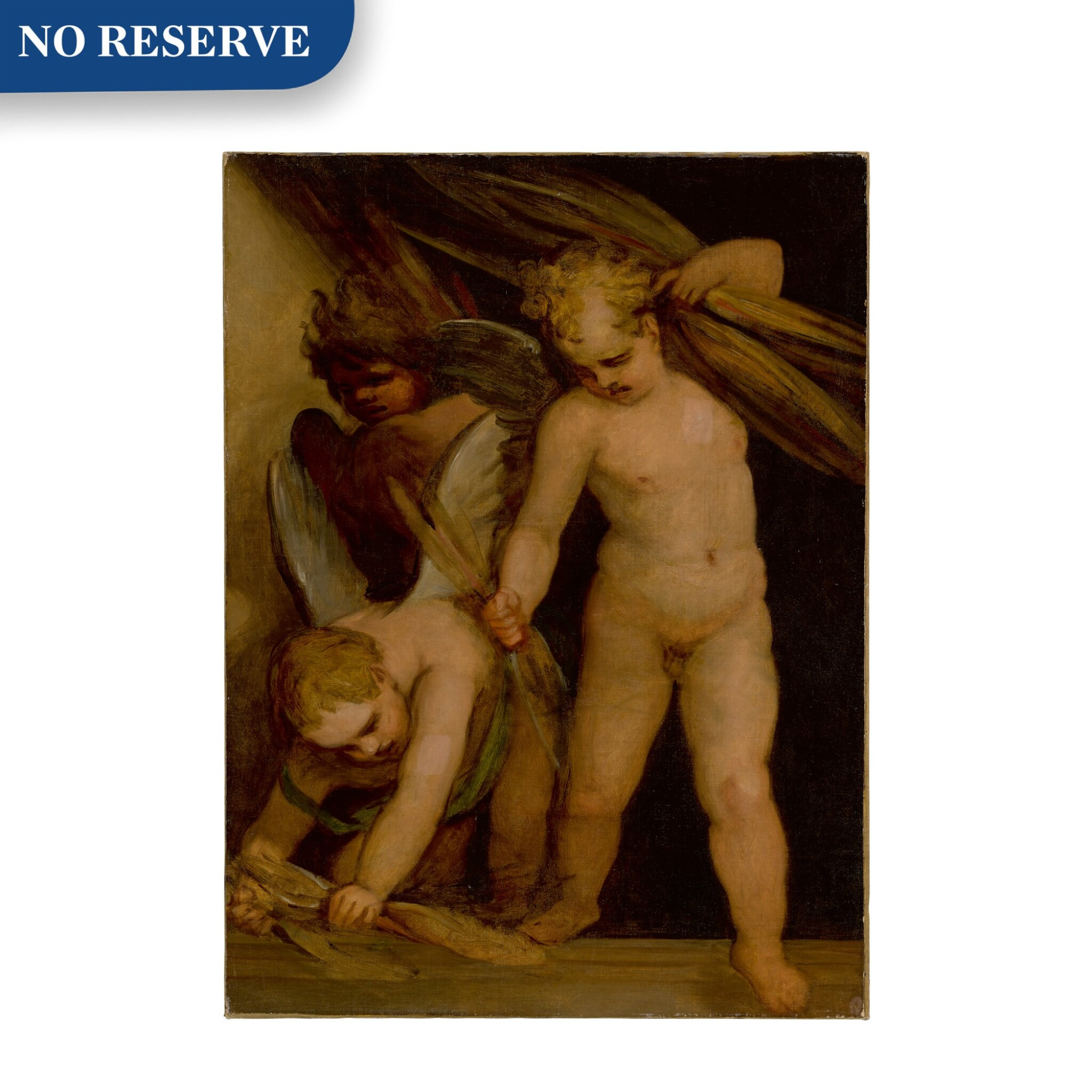 View full screen - View 1 of Lot 118. Putti gathering bundles of reeds.