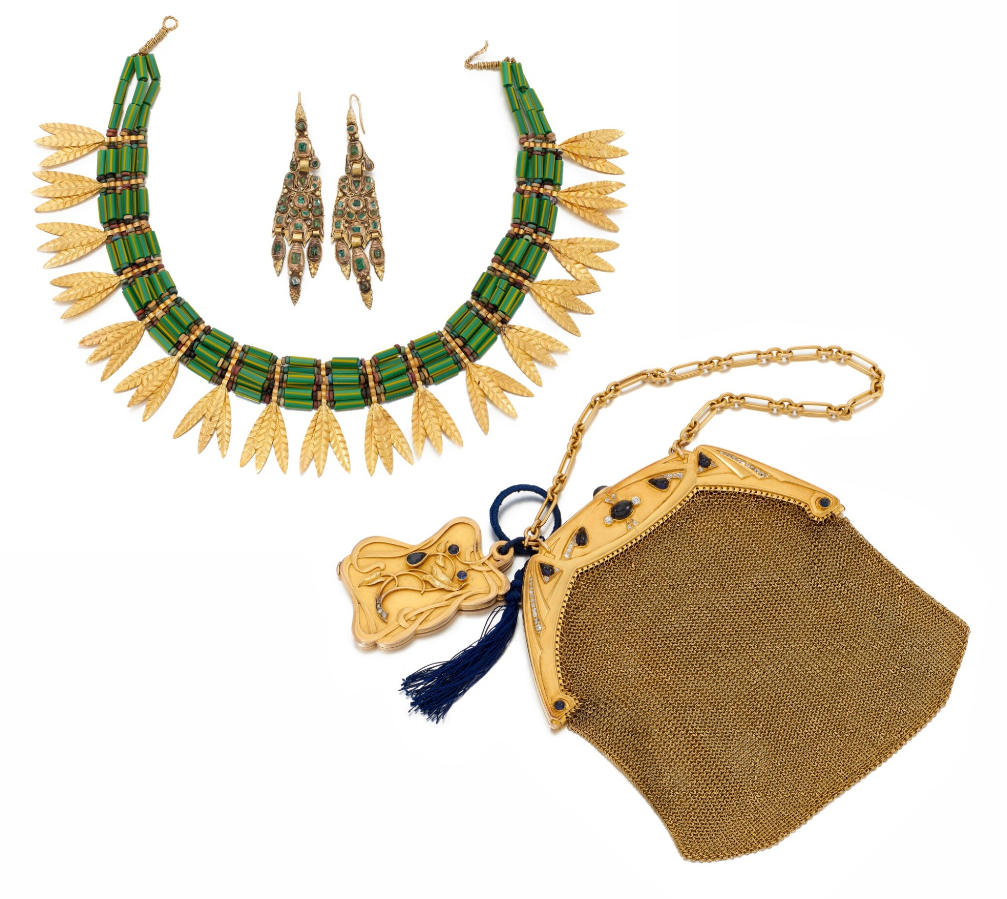 LADY'S EVENING BAG, NECKLACE AND PAIR OF EARRINGS     (BORSETTA DA SERA, COLLANA E PAIO DI ORECCHINI)