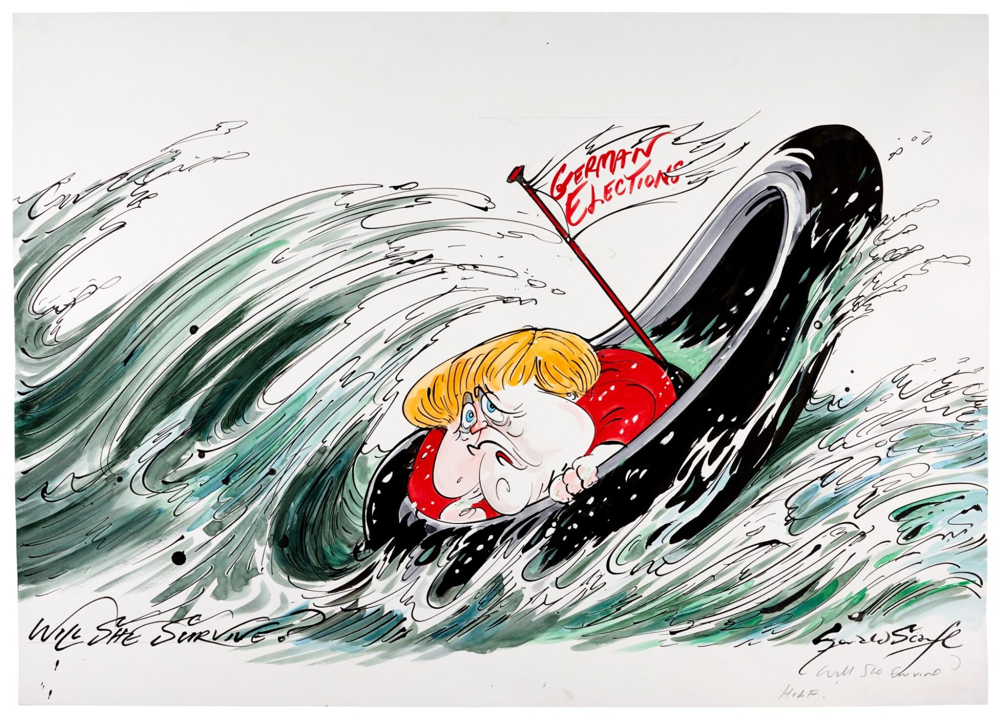 "SCARFE | [THE 2010s] | ""Will She Survive?"" [Angela Merkel]"
