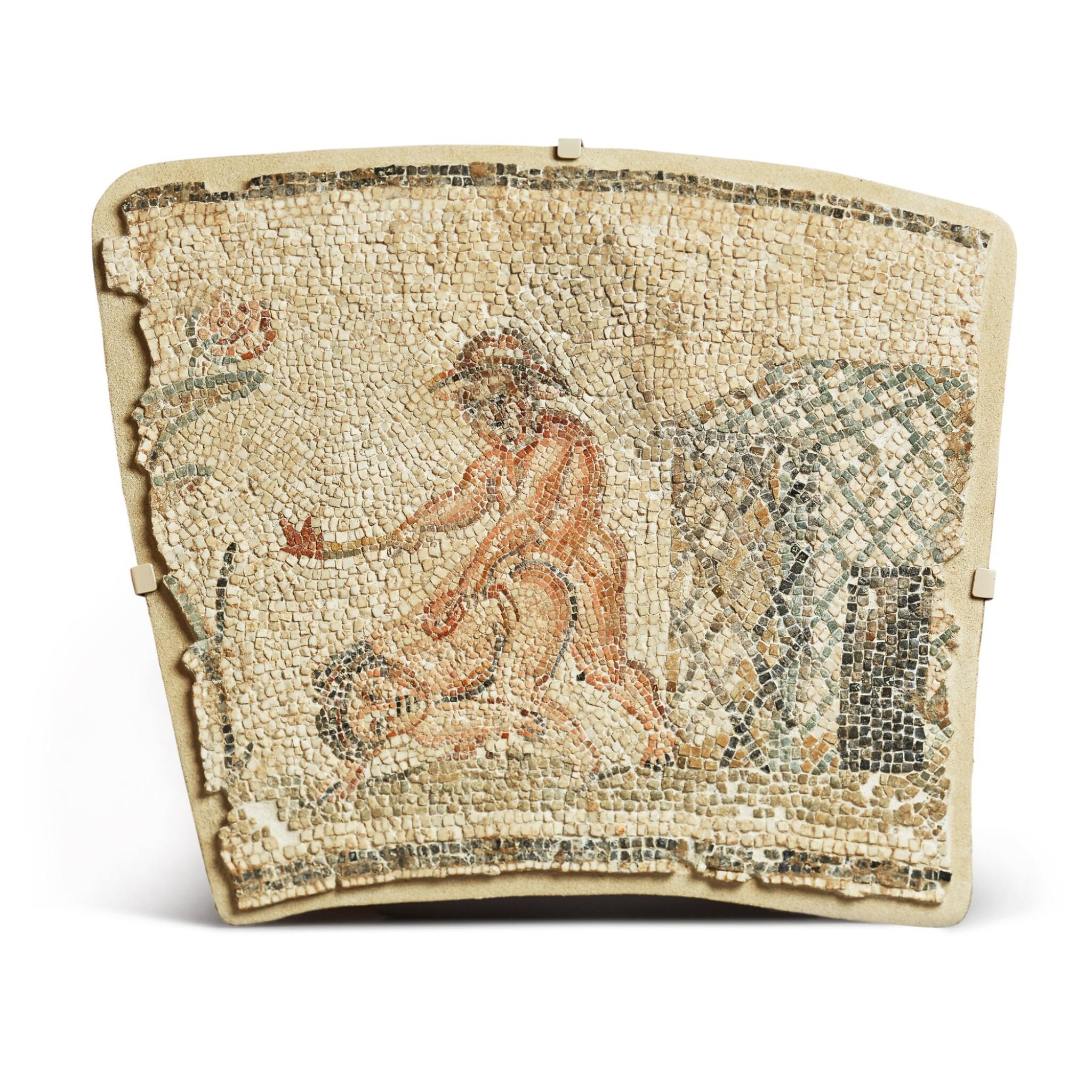 View full screen - View 1 of Lot 167. Nilotic, Roman, circa 2nd Century A.D. | Mosaic Border Fragment.