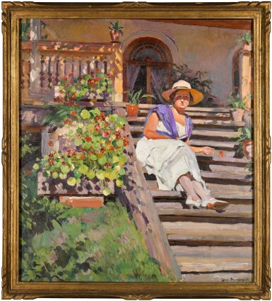 View 2. Thumbnail of Lot 39. Woman Seated on Steps.