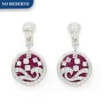 'Wave' Pair of Ruby and Diamond Pendent Earrings | 格拉夫| 'Wave' 紅寶石 配 鑽石 耳墜一對 (紅寶石及鑽石共重約4.50及6.80克拉)