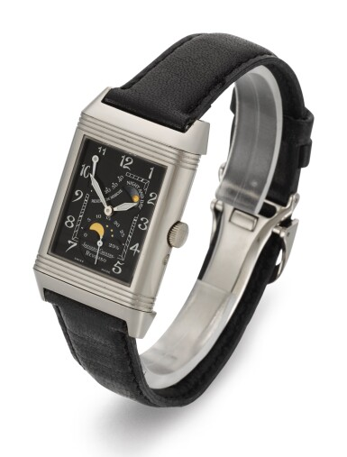 View 2. Thumbnail of Lot 21. JAEGER LECOULTRE | REVERSO NIGHT AND DAY, REFERENCE 270.3.63, WHITE GOLD REVERSIBLE RECTANGULAR WRISTWATCH WITH MOON-PHASES, POWER-RESERVE AND DAY/NIGHT INDICATION, CIRCA 2000.