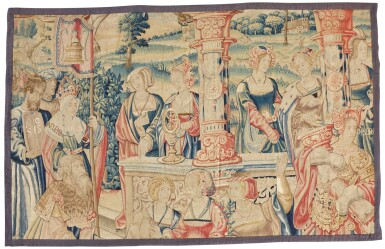 View 1. Thumbnail of Lot 3. A Renaissance allegorical tapestry fragment, from 'Virtus', Southern Netherlands, Brussels, early 16th century.