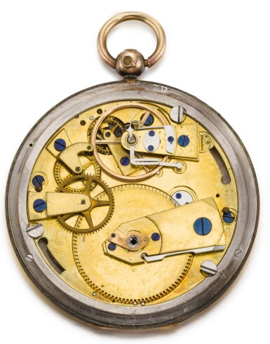 View 3. Thumbnail of Lot 30. BREGUET  [ 寶璣]  | A RARE AND SLIM GOLD AND SILVER HUNTING CASED RUBY CYLINDER WATCH WITH SUBSIDIARY HOUR AND MINUTE DIALS  NO. 4582 T4130, 'MONTRE SIMPLE TRÈS PLATE' SOLD TO MONSIEUR PASCHKOFF ON 23 MAY 1829 FOR 2,200 FRANCS  [ 罕有黃金及銀製懷錶備紅寶石工字輪擒縱機芯、小時及分鐘小錶盤,編號4582 T4130,1829年5月23日以2,200法郎售出].