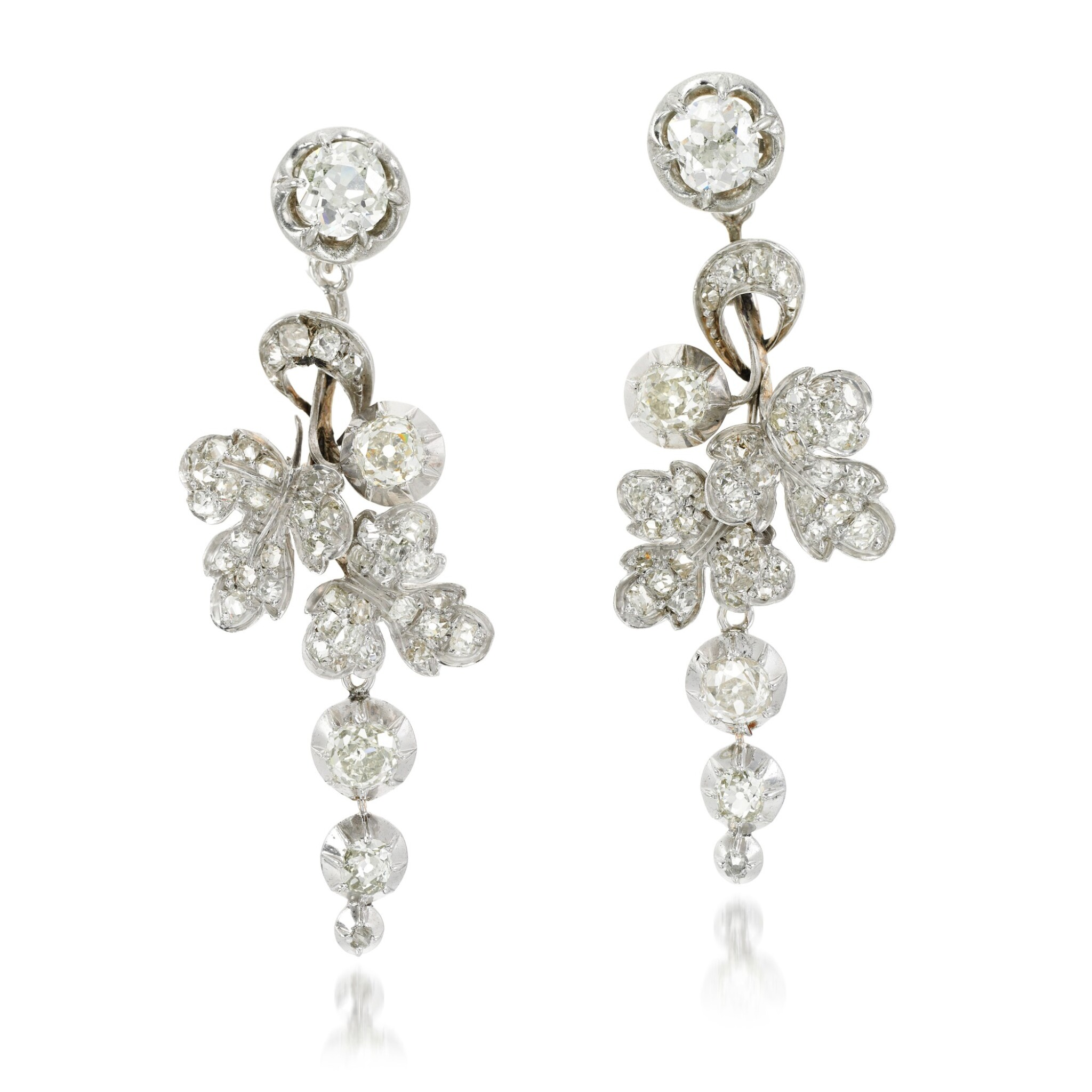 View full screen - View 1 of Lot 129. Pair of diamond earrings, 19th century and later.
