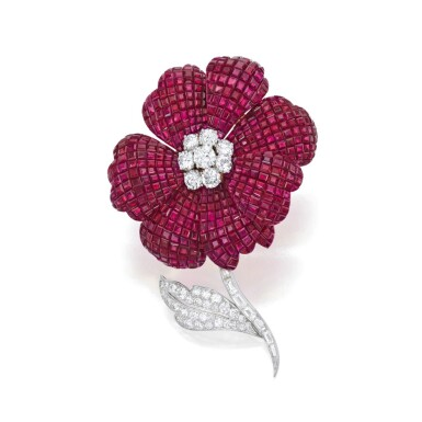 View 1. Thumbnail of Lot 43. Aletto Brothers   Ruby and Diamond Clip-Brooch.