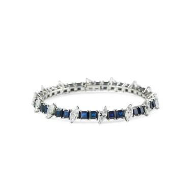 View 2. Thumbnail of Lot 91. Sapphire and diamond bracelet [Bracelet saphirs et diamants].