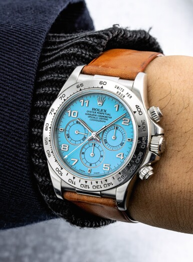 View 6. Thumbnail of Lot 2154. Rolex | Cosmograph Daytona, Reference 16516, A historically important and possibly unique platinum chronograph wristwatch with turquoise hardstone lacquer dial, Circa 1998 | 勞力士 | Cosmograph Daytona 型號16516  Cosmograph Daytona 型號16516  極具歷史價值及獨特鉑金計時腕錶,備綠松石漆製錶盤,約1998年製.