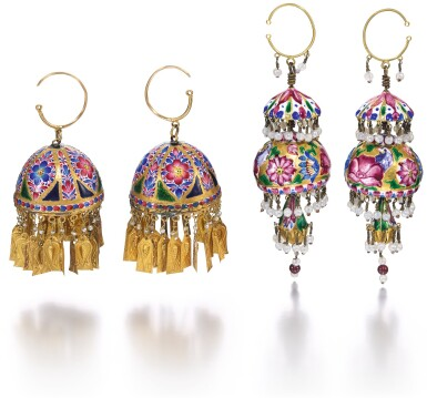 TWO PAIRS OF QAJAR GOLD AND ENAMELLED PENDANT BELL-EARRINGS, PERSIA, 19TH CENTURY