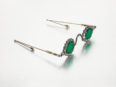 View 3. Thumbnail of Lot 213. A pair of Mughal spectacles set with emerald lenses, in diamond-mounted frames, India, lenses circa 17th century, frames 19th century.