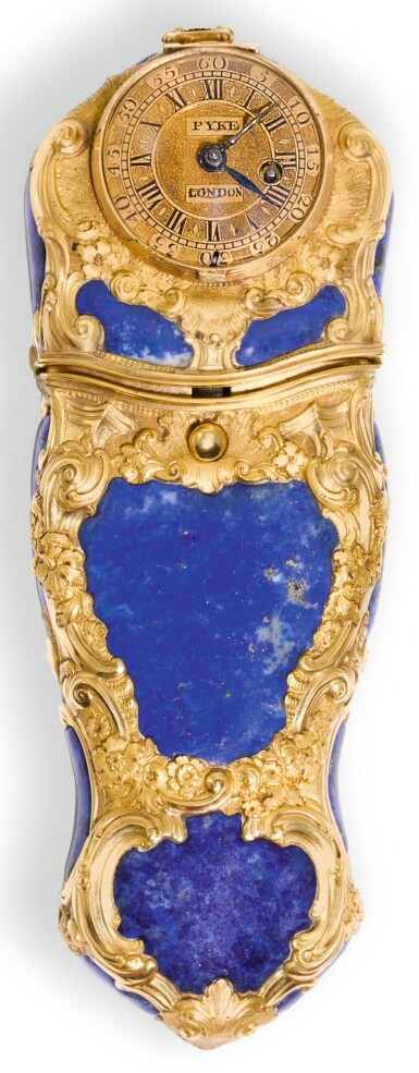 A GOLD AND LAPIS LAZULI ETUI WITH INTEGRATED TIMEPIECE, LONDON, CIRCA 1760