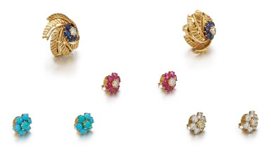 View 3. Thumbnail of Lot 9142. PAIR OF GEM SET AND DIAMOND EARCLIPS, CARTIER | 寶石 配 鑽石 耳環一對, 卡地亞(Cartier).