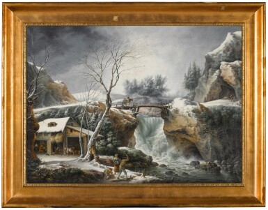 View 2. Thumbnail of Lot 178. Winter landscape with a waterfall and a peasant family by a cottage.