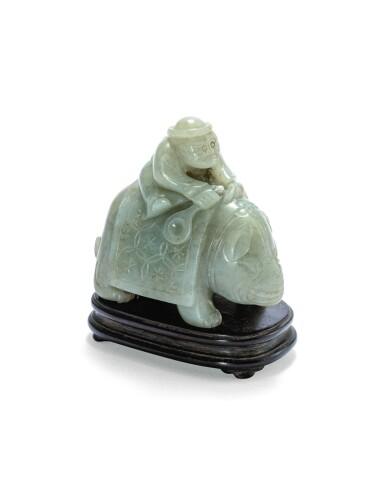View 1. Thumbnail of Lot 215. Statuette d'un éléphant et son cornac en jade céladon Dynastie Qing | 清 青白玉胡人騎象擺件 | A celadon jade 'foreigner on an elephant' group, Qing Dynasty.