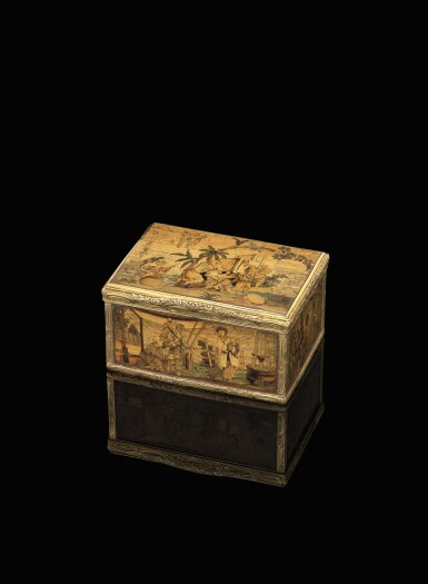 View 1. Thumbnail of Lot 11. A rare marquetry fruitwood snuff box with gold mounts, German, circa 1765.