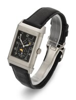 JAEGER LECOULTRE | REVERSO NIGHT AND DAY, REFERENCE 270.3.63, WHITE GOLD REVERSIBLE RECTANGULAR WRISTWATCH WITH MOON-PHASES, POWER-RESERVE AND DAY/NIGHT INDICATION, CIRCA 2000