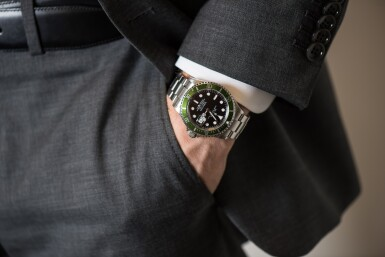 ROLEX | 'KERMIT FLAT 4' SUBMARINER, REF 16610LV STAINLESS STEEL WRISTWATCH WITH DATE AND BRACELET CIRCA 2003